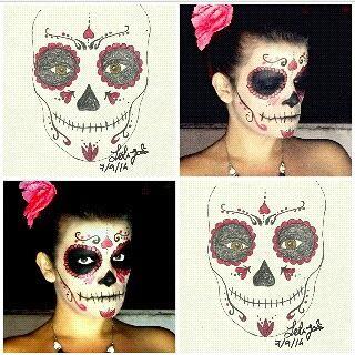 """Sugar Skull Halloween makeup, with sketch. Dia de Los Muertos, """"La Catrina"""", inspired."""