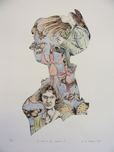 Esther Hansen, To Mend the world 2, Etching 2011