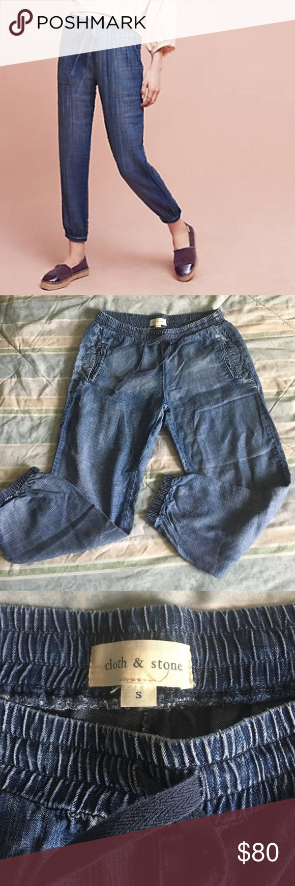 "Cloth & Stone Denim Jogger Pants Tencel, drawstring waist, loose fit, cinched ankles, 24"" inseam, 10"" leg opening, 9"" rise, 26""-27"" waist, in great condition Anthropologie Pants Track Pants & Joggers"
