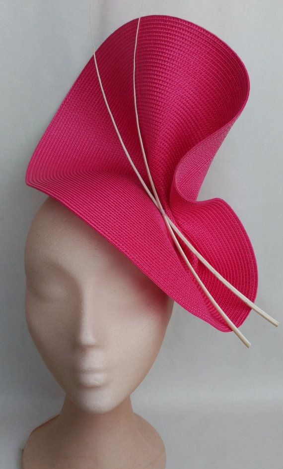 Pink and white fascinator-Pink wedding hat-Fuschia pink fascinator-Pink Ascot…