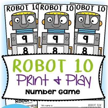 This 'Robot Ten' addition game will help your students learn and practice the number combinations that make ten (friends of ten).  Students will roll a standard six sided dice and find the number on their robot that will combine to make ten.