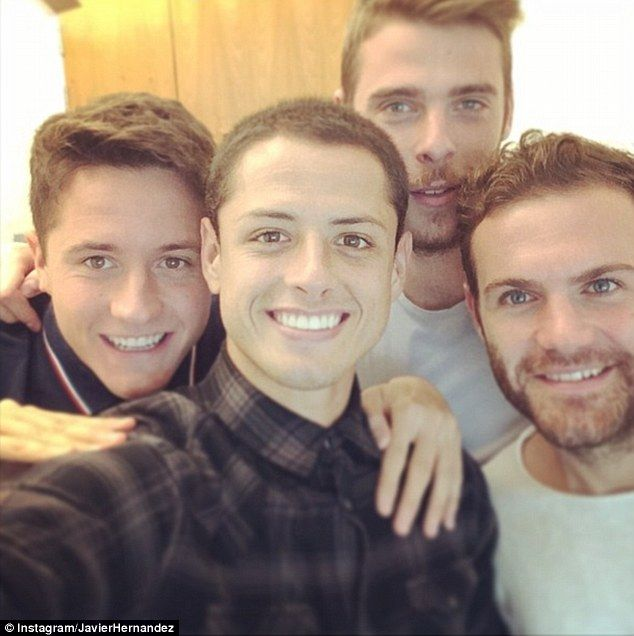 Birthday boy :  Ander Herrera (left) celebrates the occasion with Javier Hernandez, David ...