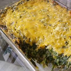 Cheesy Creamed Spinach Casserole With Frozen Chopped Spinach, Onion Soup Mix, Sour Cream, Shredded Cheddar Cheese