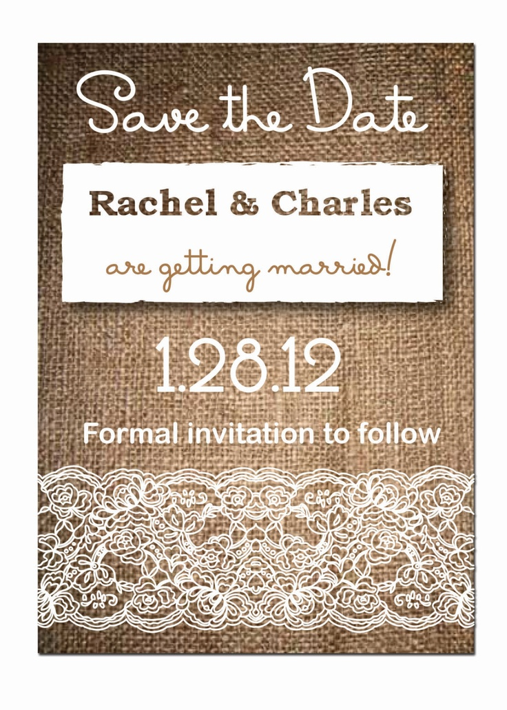 Burlap Lace Rustic Wedding Save the Dates DIY by AestheticJourneys, $12.00