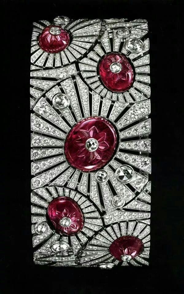 Cartier art deco ruby and diamond bracelet
