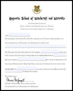 Free Printable Harry Potter Birthday Party Invitations Hogwarts Acceptance Letter And Hedwig Owl Balloons Via Momfindsout Harrypotterfan Partyideas