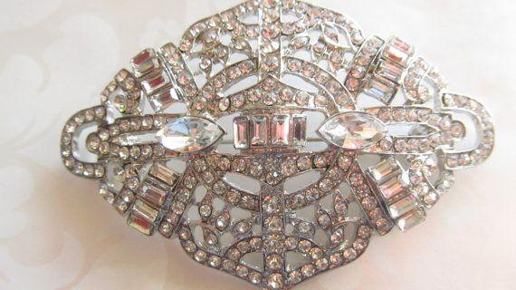 Art Deco Brooch/ Rhinestone Brooch / Bridal by HerLovelySupplies, $19.00