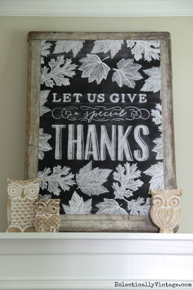 Fall Chalkboard Printable - what a beautiful mantel! eclecticallyvintage.com