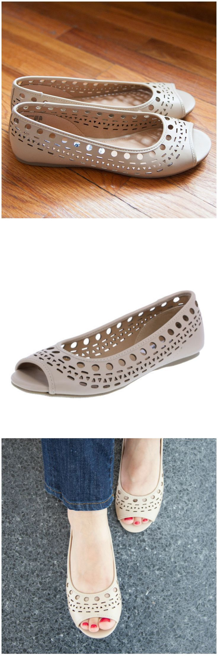 Pair the Caprice peep toe flat with anything for trendy summer style!
