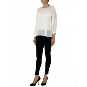 White georgette top with creative barfi pleats on it. Shop Now http://bit.ly/1I97eup