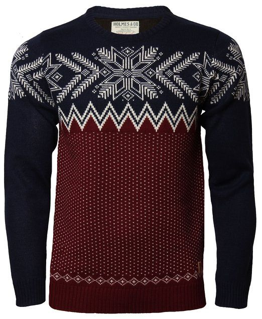 Mens Holmes & Co Fairisle/Nordic Style Top Cardigan Knitwear Jumper Sweater: Amazon.co.uk: Clothing