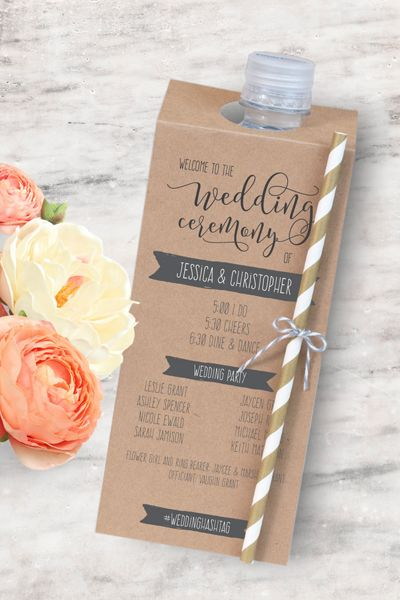 Perfect for an outdoor summer wedding, attach your programs to bottles of water to help your guests stay hydrated and cool.