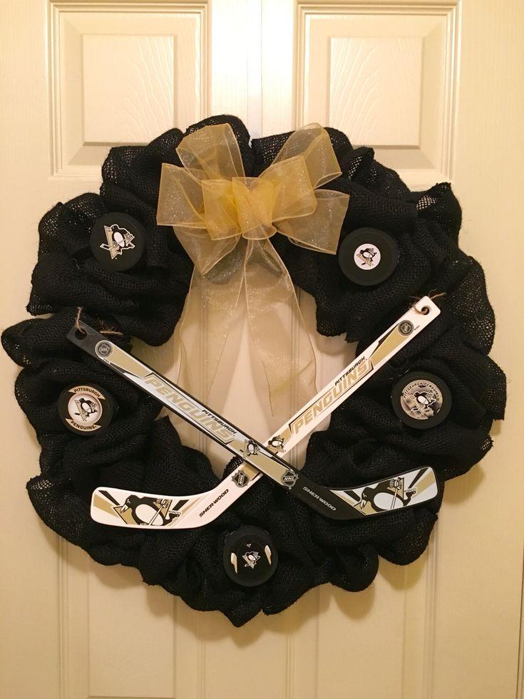 Pittsburgh Penguins Hockey Wreath  Facebook.com/wreathswithatwist