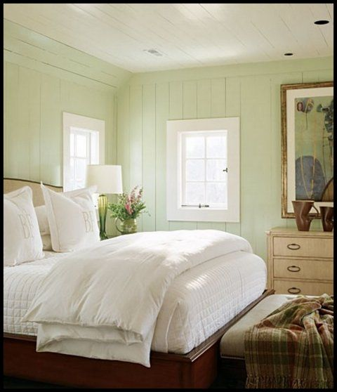 Serenity in mint green and white. - bedroom walls?