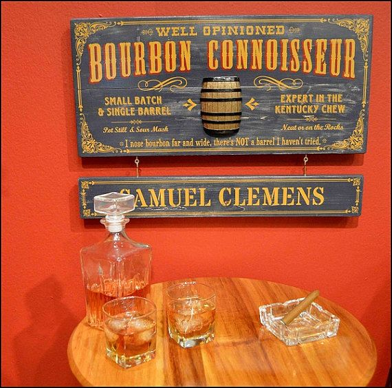 Bourbon Connoisseur Vintage Plank Nameplate Sign by KandKSales