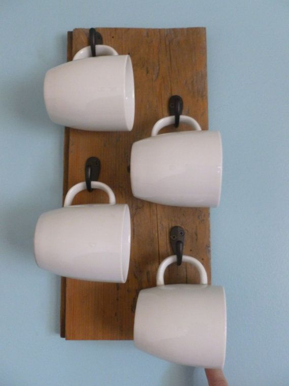Reclaimed wood mug holder rack with century- old barn wood, 4 black hooks, READY TO HANG on Etsy, $45.00