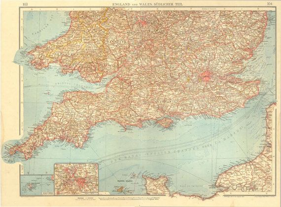Map of Great Britain and Wales1922 Lithograph by CarambasVintage, $38.00