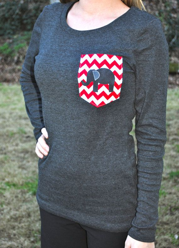 Alabama elephant chevron pocket tee by Lindsays Monograms on Etsy, $26.00 (forget all they mess, make one for mom but different colors)