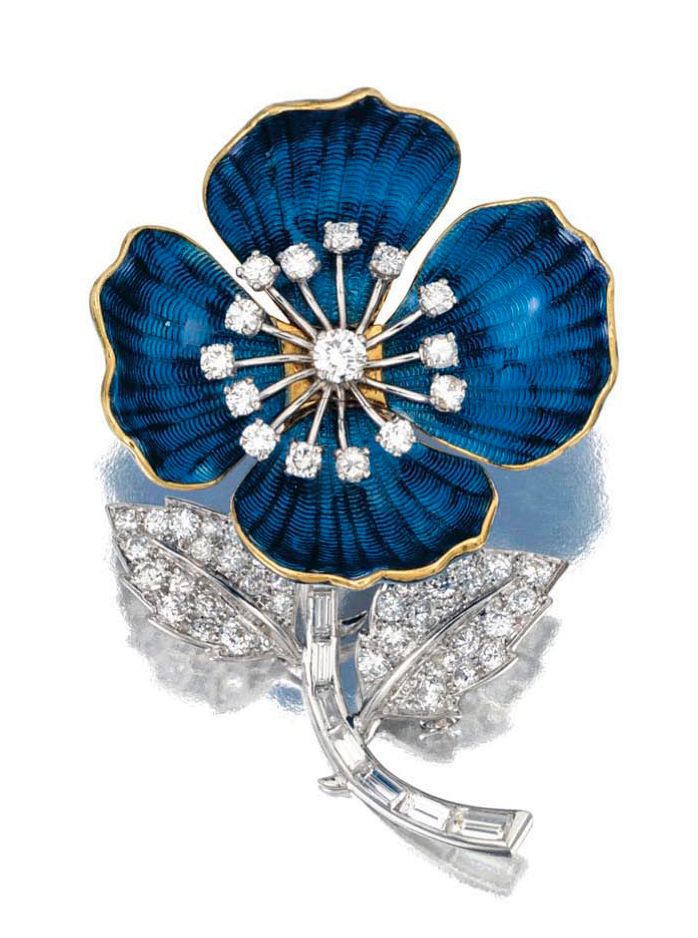 ENAMEL AND DIAMOND BROOCH, designed as an eglantine, its petals decorated with blue guilloché enamel, highlighted to the centre with brilliant-cut diamonds, the stem and leaves set with baguette and brilliant-cut stones, mounted in platinum and yellow gold