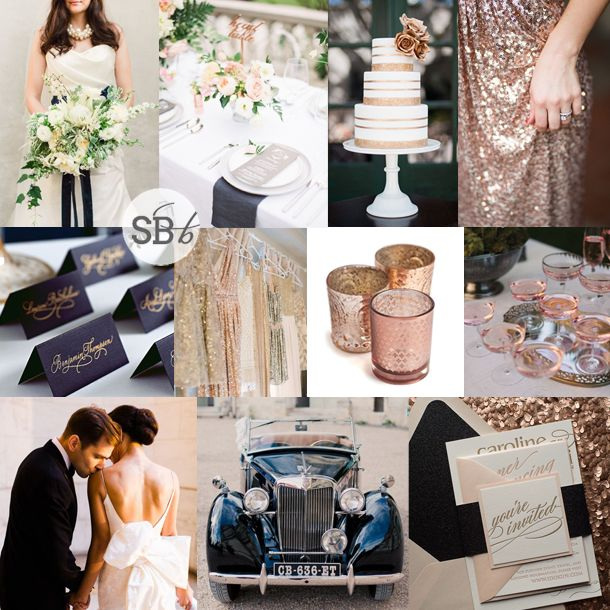 Rose Wedding Ideas: Inspiration Board: Navy & Rose Gold