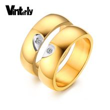 Vinterly Couple Jóias 6 milímetros de ouro Cor Aço Inoxidável Anel de casamento para as mulheres Homens Anel De Compromisso (China (continente))