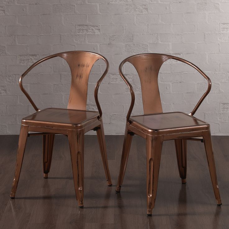 Create a striking focal point in your room with these brushed copper Tabouret stacking chairs. This set of four chairs features a stackable and durable steel construction, scratch and mar resistant powder coat finish, complete with non-mar foot glides.