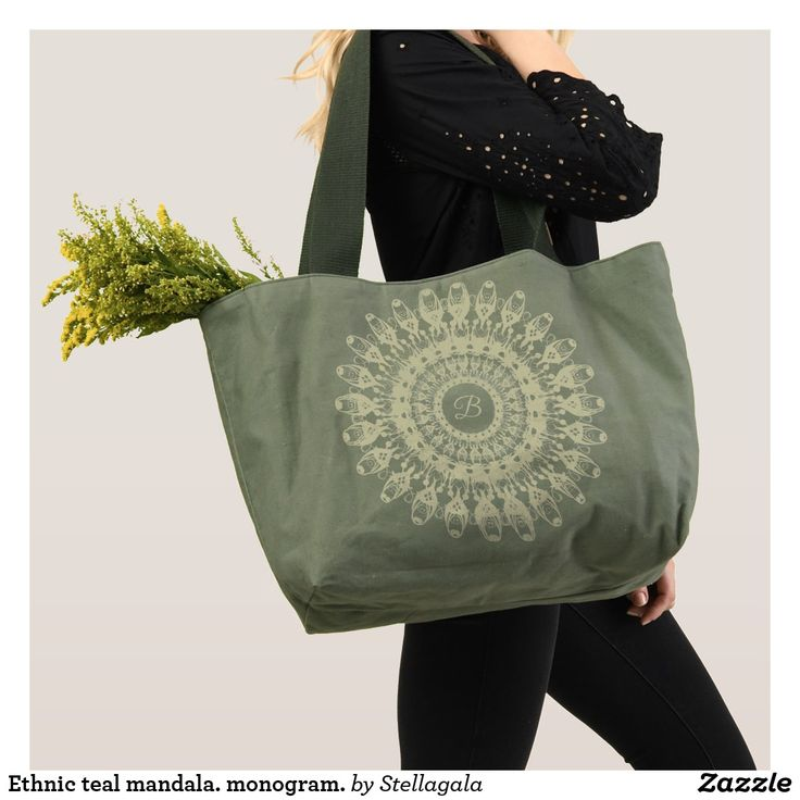Ethnic teal mandala. monogram. tote #bags  #ethnic #mandala #monogram  #stellagala