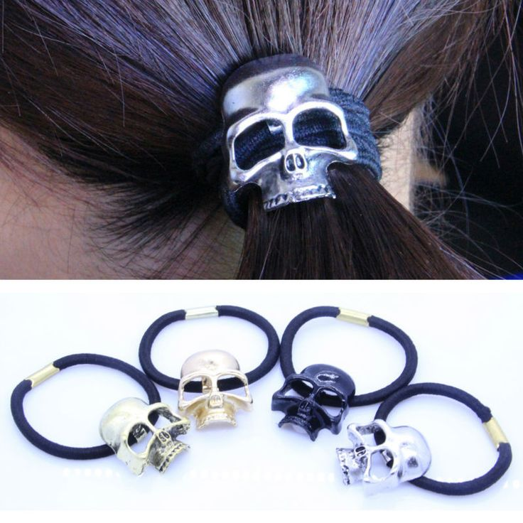 YouMap Fashion Skeleton Headwear Retro Punk Three-Dimensional Skull Rope Elastic Hair Bands Crow Head Accessories Woman