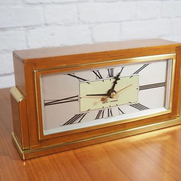 1951 Seth Thomas Art Deco Mantle Clock / RetroFit Quartz Movement / Midcentury Home Decor