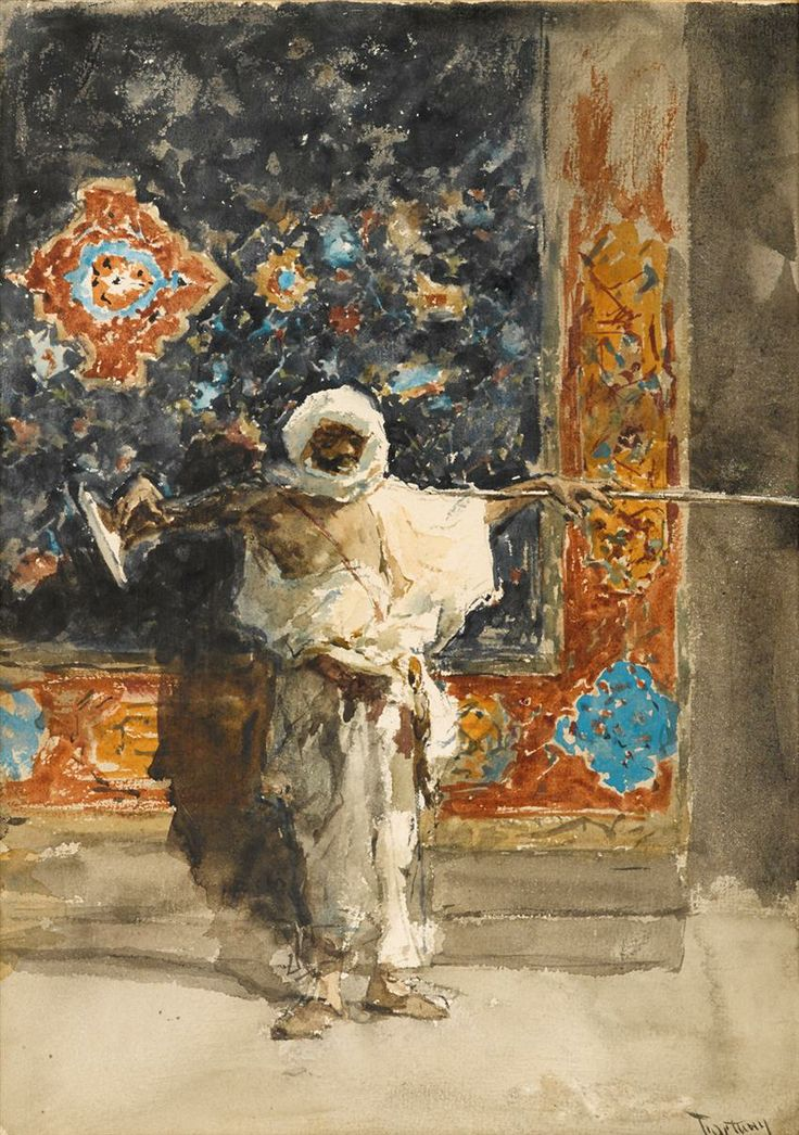 "MARIANO JOSÉ MARÍA BERNARDO FORTUNY Y CARBÓ (spanish 1838-1874) ""ARAB GUARD"" Signed, located and dated 'Fortuny Roma 69' lower right, watercolor on paper 12 1/2 x 8 3/4 in. (31.8 x 22.2cm) provenance: George C. Thomas, Philadelphia, Pennsylvania. ""The George C. Thomas Collection of Oil Paintings."" Samuel T. Freeman & Co, Philadelphia, Pennsylvania, November 13, 1924, lot 45. Acquired from the above auction. The George D. Horst Collection of Fine Art."