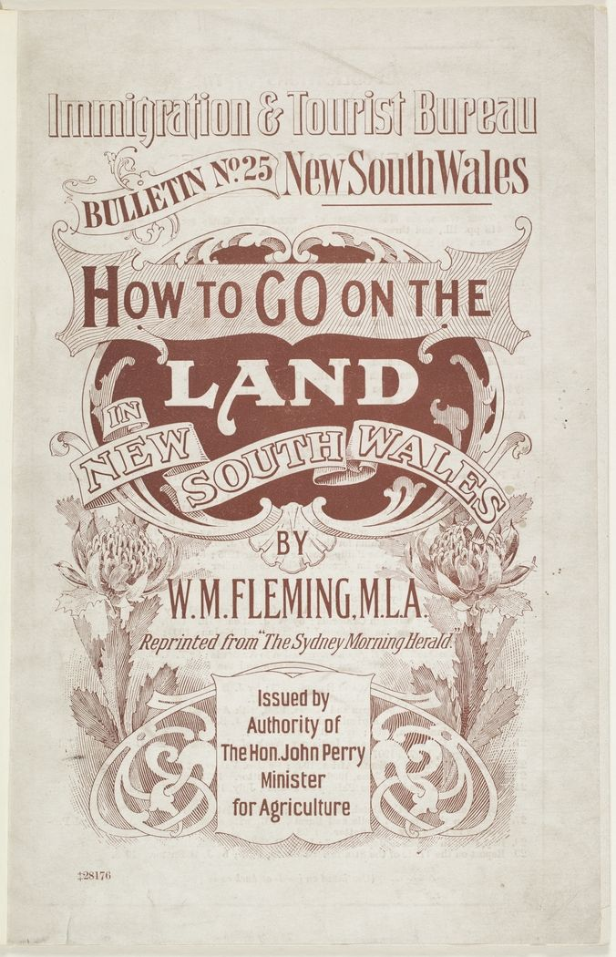 How to go on the land in New South Wales 1909.  Find more detailed information about this photograph: http://library.sl.nsw.gov.au/search~S2/?searchtype=t&searcharg=how+to+go+on+the+land&searchscope=2&sortdropdown=-&SORT=D&extended=0&searchlimits=&searchorigarg=tparkes+new+south+wales From the collection of the State Library of New South Wales http://www.sl.nsw.gov.au