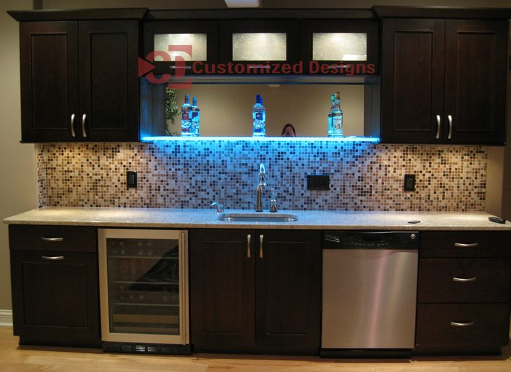 Led shelf kitchen basement bar apartment ideas - Basement kitchen and bar ideas ...