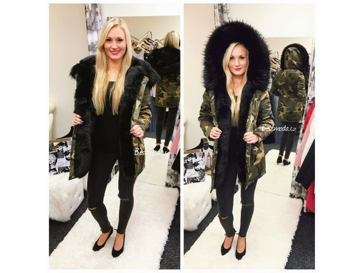 Army PARKA s černým kožíškem, SKLADEM - Bestmoda - Camouflage fur parka in stock