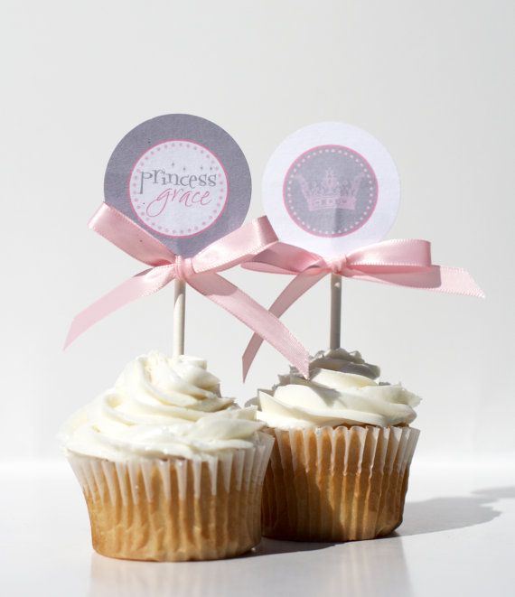 Birthday Cupcake Toppers  VINTAGE PRINCESS by ConfettiPrintsShop, $6.00