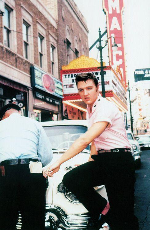 "The King. (""Outside of Jim's Barber Shop, Main Street, Memphis, TN, 1956."")"