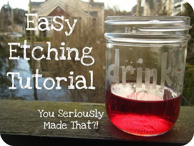 Etching Mason Jars: Glasses Etchings, Glass Etching, Easy Etchings, Crafts Ideas, Diy Crafts, Gifts Ideas, Etchings Tutorials, Mason Jars, Wine Glasses