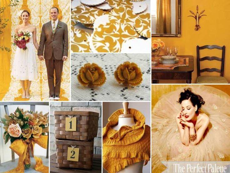 Rustic Romance... Chocolate, Latte, Mustard, and Ivory