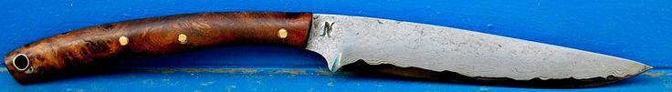 """trout bird  lame de 12.5 cm forgée en suminagashi, plaquette en loupe de noyer turc disponible trout bird blade of 4.93"""" forged in suminagashi , slabs in tirkish walnut burl available for sale www.aufildelalame.fr"""