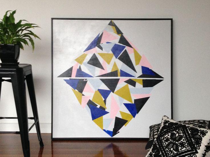 Kellands Prism Abstract Art Painting (Daniela Kiss 101 x101cm Acrylic on canvas)
