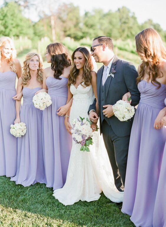 Jana Kramer's ladies stun in french lilac dresses from Weddington Way