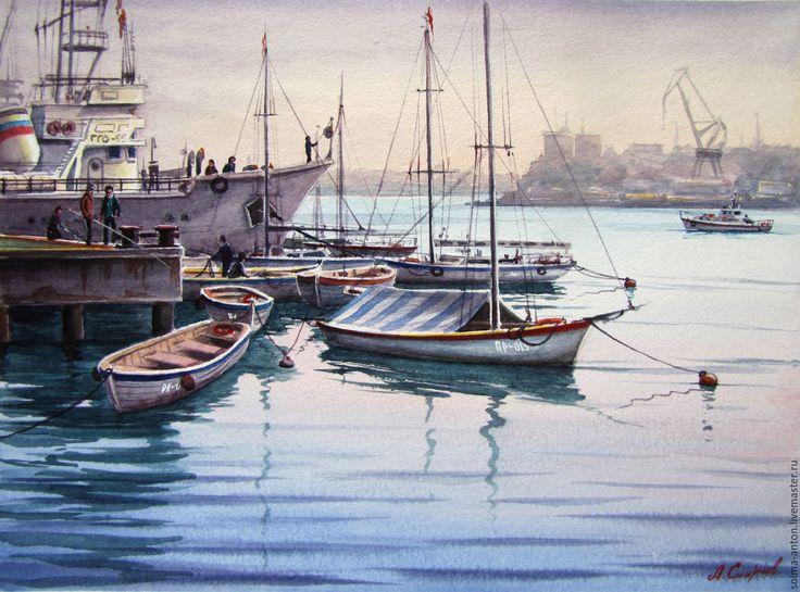 """Купить """" Причал в южной бухте"""" (Севастополь) - бледно-сиреневый, севастополь, бухта, причал, лодки"""