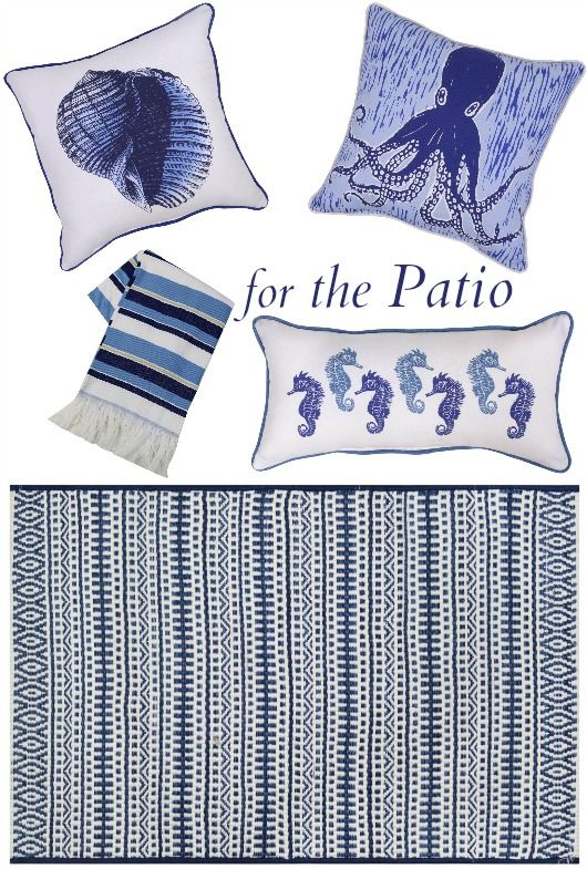 Coastal Blue Outdoor Patio and Porch Decor Collection from Target...  http://www.completely-coastal.com/2017/06/coastal-blue-patio-decor-collection-from-target.html