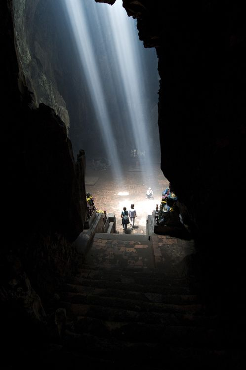 Vietnam, Marble Mountain.  There are holes in the cave above so the   My husband wanted to visit here because he was stationed near here, so he wanted to go back.  This is outside Hoi An near DaNang, Vietnam.