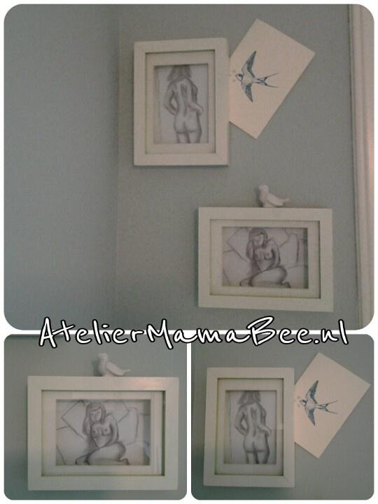Dream home, painting, drawing, naked female sleeping. Twee zelfgemaakte houtskool tekeningen op onze slaapkamer. Vind ze nog steeds fijn.