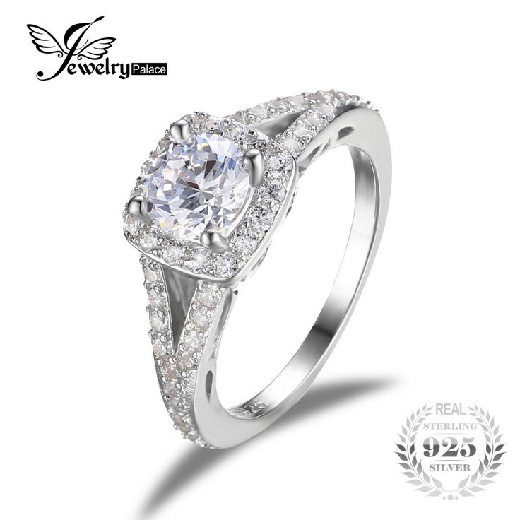 JewelryPalace 2.2ct Cubic Zirconia Halo Solitaire Engagement Ring Genuine 925 Sterling Silver Jewelry Wedding Rings For Women