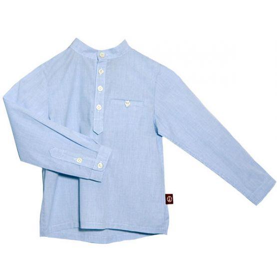 Mandarin Collar Dress Shirt Blue Check