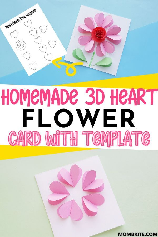 Beautiful 3d Heart Flower Card Free Template In 2021 Flower Cards Valentines Day Activities Arts And Crafts For Kids
