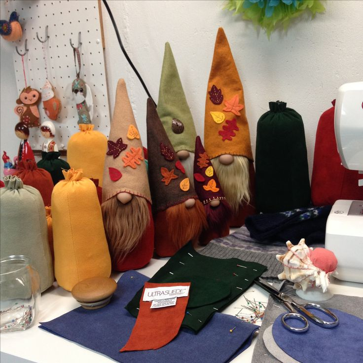 A busy day making gnomes for fall. Etsy.com/shop/flowervalleygnomes
