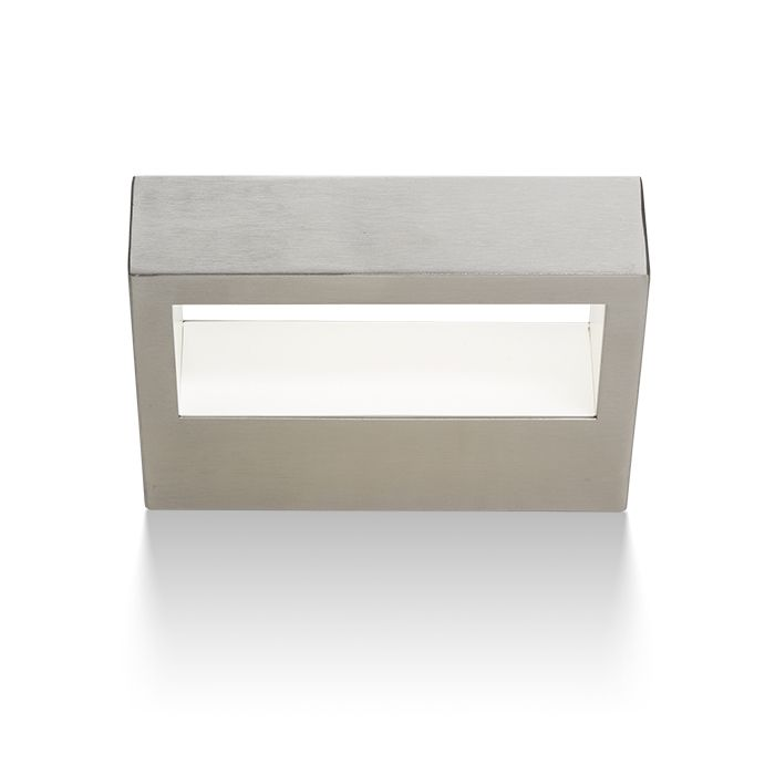 CHLOE | rendl light studio | Rectangular LED wall light with a stainless steel finish, for indirect illumination. #lights #design #LED #outdoor