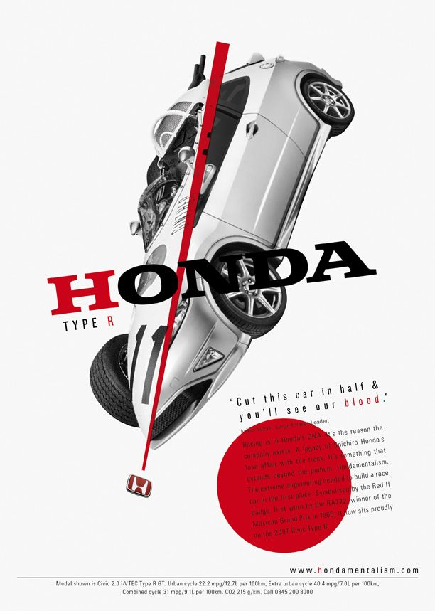 Bauhaus / Constructivism stle ads  Honda, 'Hondamentalism.' Advertising agency: Wieden+Kennedy.